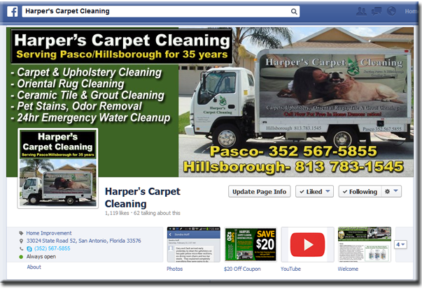 Facebook Page for Harpers Carpet Cleaning - Carpet, Tile and Grout Cleaning in Dade City, Zephyrhills and Wesley Chapel.  Over 40 years experience, family owned business using truck mounted equipment enabling most powerful clean.
